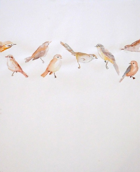 on paper floating birds
