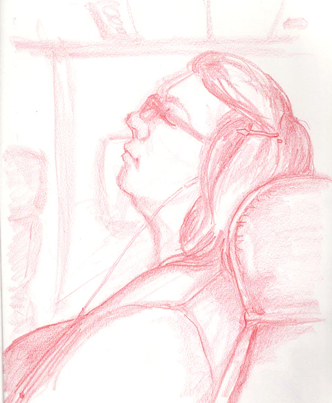 RACHEL MINDRUP Airport Sketching red pencil