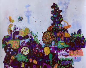 ROBERTA NIGRO HALL Zany Landscapes Acrylic, Paint Pen on Paper