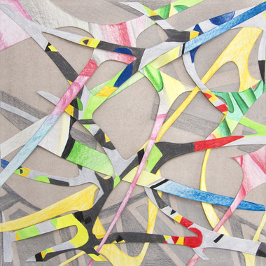 ROBERT BRINKER STUDIES Colored pencil and cut paper
