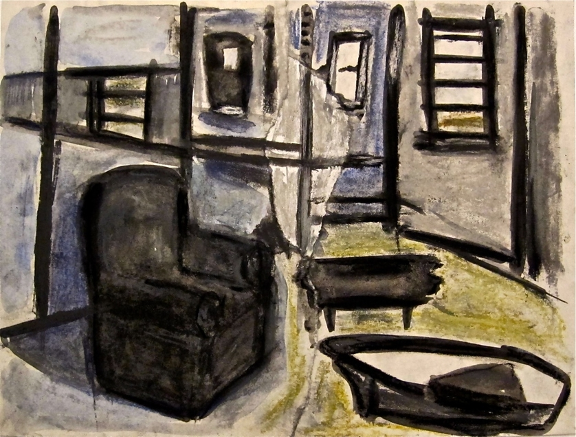 Robert G. Edelman        Art Consultant/Writer/Independent Curator     Interiors  Ink, graphite, crayon, collage on paper