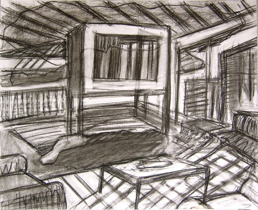 Robert G. Edelman        Art Consultant/Writer/Independent Curator     Interiors  Graphite, charcoal on paper