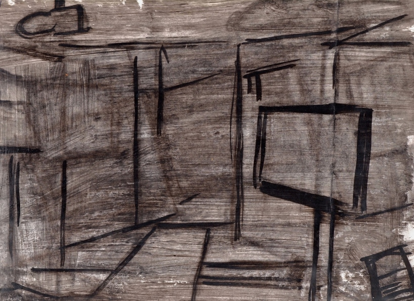 Robert G. Edelman        Art Consultant/Writer/Independent Curator     Interiors  Ink, acrylic on envelope