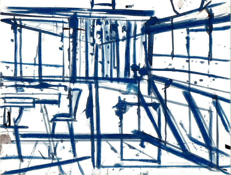 Robert G. Edelman        Art Consultant/Writer/Independent Curator     Interiors  Ink, watercolor, graphite on paper