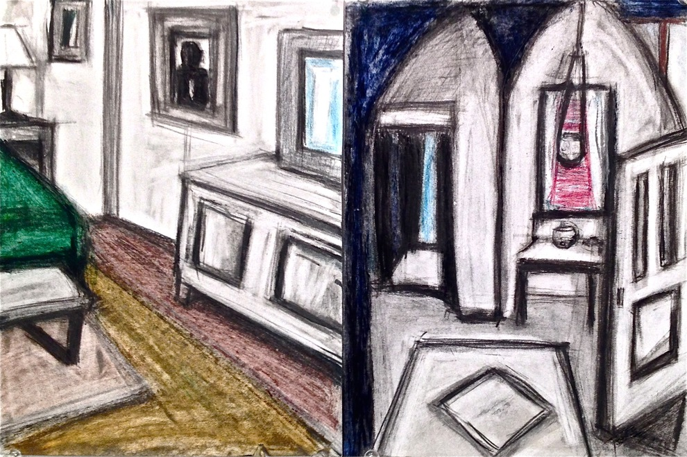 Robert G. Edelman        Art Consultant/Writer/Independent Curator     Interiors  Oilstick, charcoal, colored pencil on paper