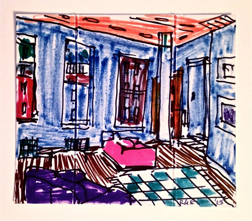 Robert G. Edelman        Art Consultant/Writer/Independent Curator     Interiors  markers, ink, pencil on paper