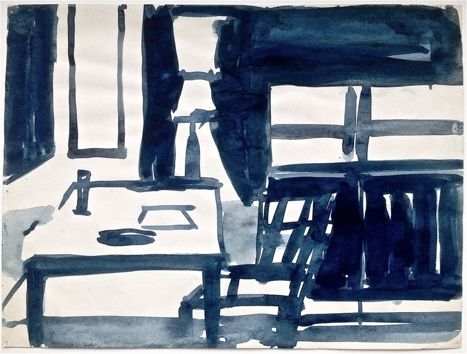 Robert G. Edelman        Art Consultant/Writer/Independent Curator     Interiors  Ink, watercolor on paper