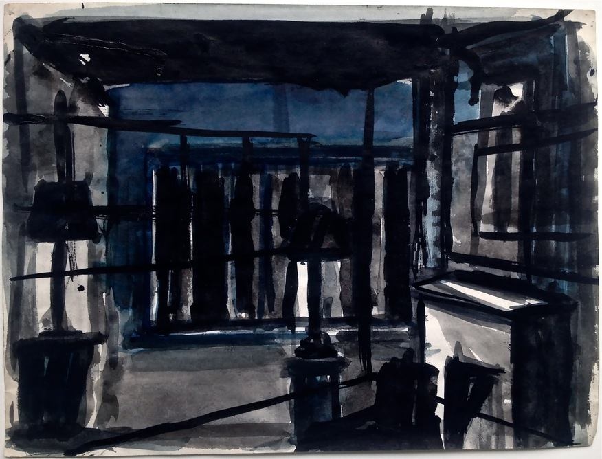 Robert G. Edelman        Art Consultant/Writer/Independent Curator     Interiors  Ink, watercolor, pencil on paper