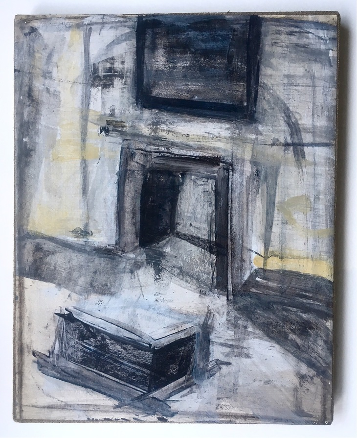 Robert G. Edelman        Art Consultant/Writer/Independent Curator     Interiors 90's Acrylic on paper, mounted on linen