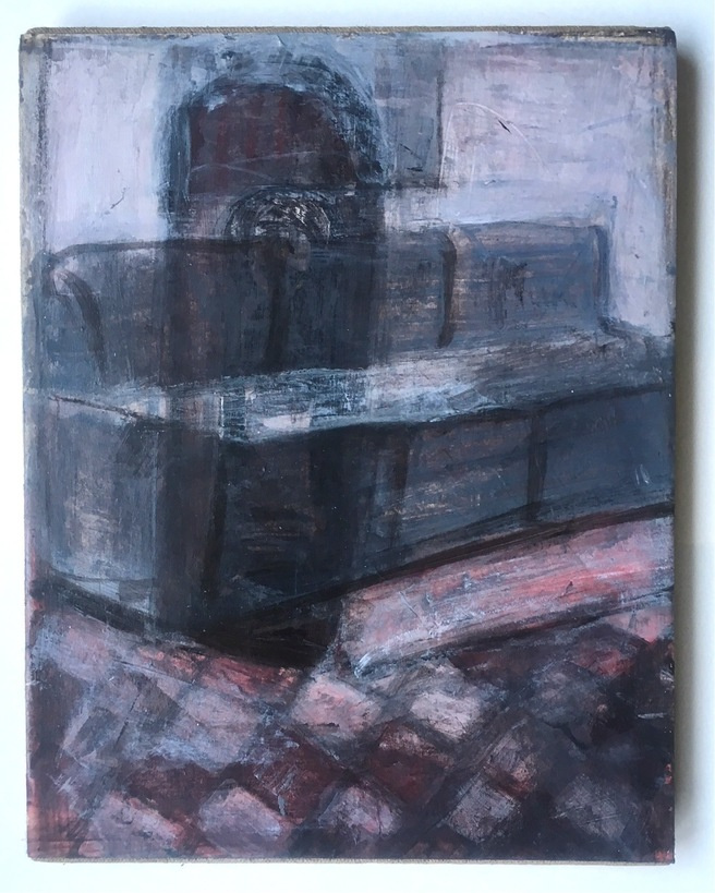 Robert G. Edelman        Art Consultant/Writer/Independent Curator     Interiors 90's Acrylic on paper, mounted on burlap