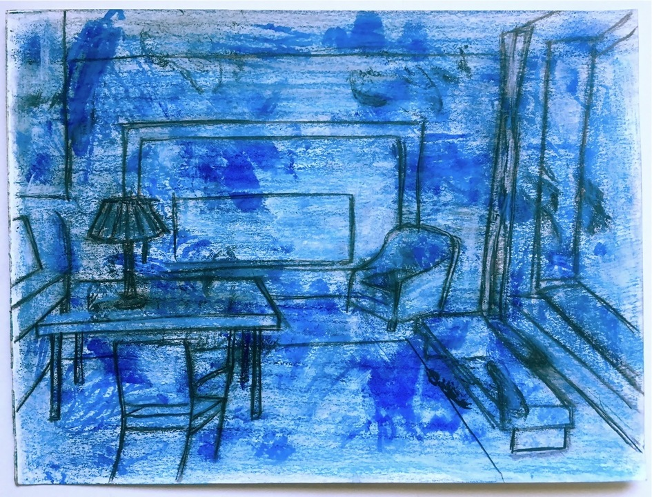 Robert G. Edelman        Art Consultant/Writer/Independent Curator     Interiors  Watercolor, pastel, colored pencil on paper