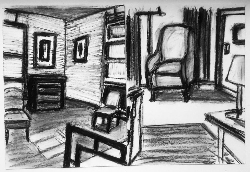 Robert G. Edelman        Art Consultant/Writer/Independent Curator     Interiors  Charcoal, pencil on paper