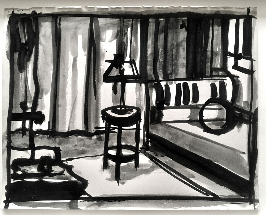 Robert G. Edelman        Art Consultant/Writer/Independent Curator     Interiors 90's Ink, graphite on paper