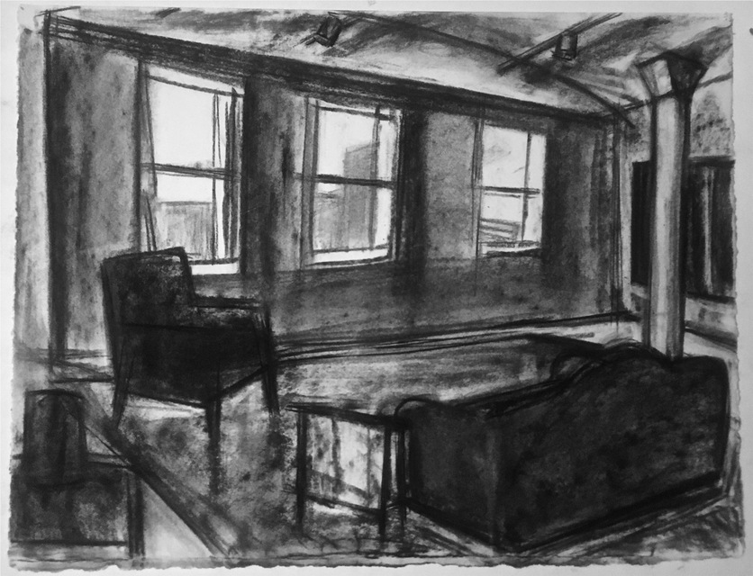 Robert G. Edelman        Art Consultant/Writer/Independent Curator     Interiors  Charcoal on paper