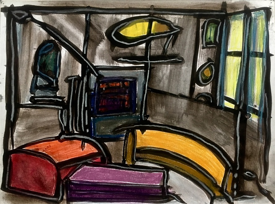 Robert G. Edelman        Art Consultant/Writer/Independent Curator     Interiors  Acrylic, ink, pastel, chalk on paper