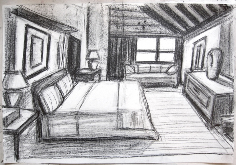 Robert G. Edelman        Art Consultant/Writer/Independent Curator     Interiors  charcoal. graphite on paper