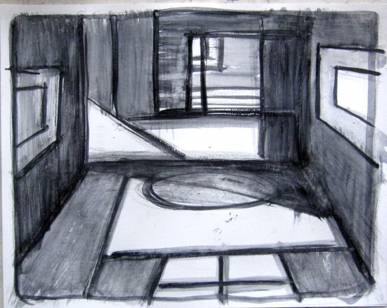 Robert G. Edelman        Art Consultant/Writer/Independent Curator     Interiors  ink, acrylic wash on paper