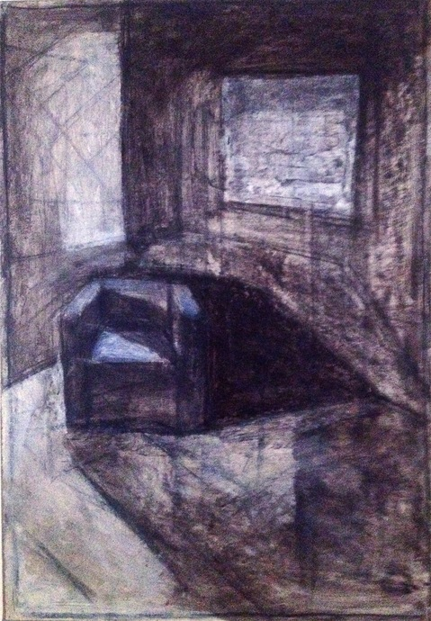 Robert G. Edelman        Art Consultant/Writer/Independent Curator     Interiors 90's Acrylic on paper mounted on linen