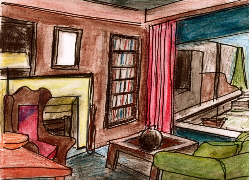 Robert G. Edelman        Art Consultant/Writer/Independent Curator     Interiors  ink, pastel on paper