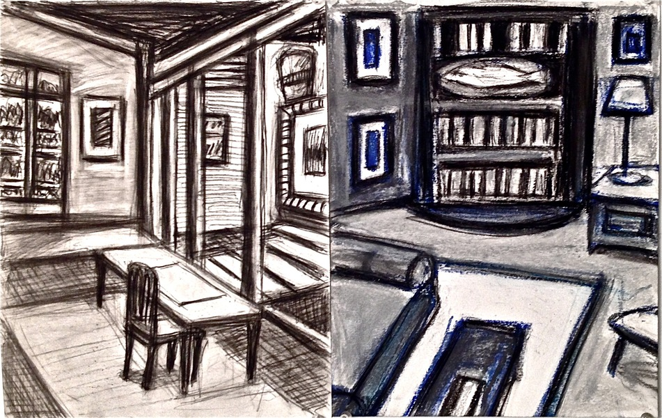Robert G. Edelman        Art Consultant/Writer/Independent Curator     Interiors  Graphite, charcoal, oilstick on paper