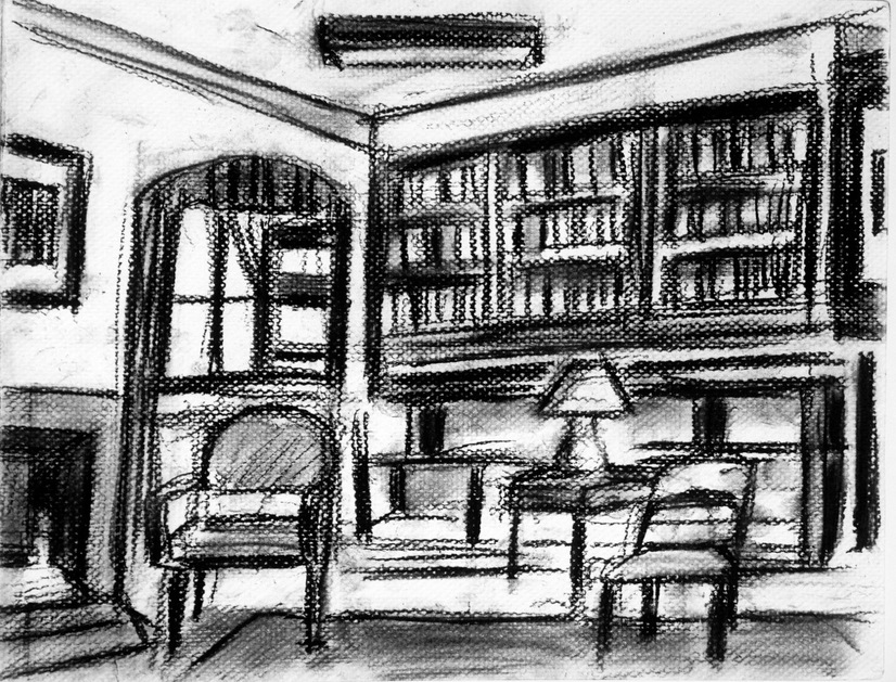 Robert G. Edelman        Art Consultant/Writer/Independent Curator     Interiors  Charcoal on textured paper