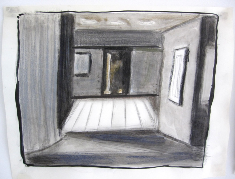 Robert G. Edelman        Art Consultant/Writer/Independent Curator     Interiors  ink, graphite and pastel on tracing paper