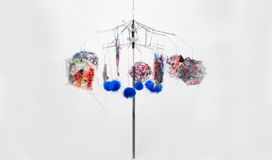 Robin M Jordan Hanging Sculpture umbrella detritus, polypropylene, fabric, thread, rubber, plastic, glass, brass, copper, metal chain