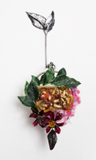 Robin M Jordan Poured steel, dried flowers, fabric, polymer