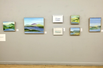 Virginia O. Roeder Exhibition Installations / flyers Wall One (of three): showing 5 paintings and 2 mono-prints