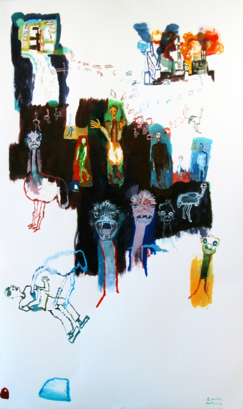 Works on paper  2000 to Present Zombie Ostritch