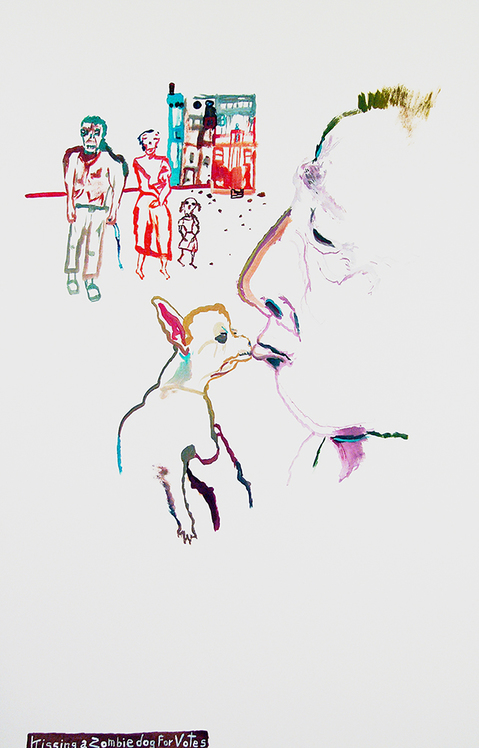 Works on paper  2000 to Present Kissing a zombie dog for votes.