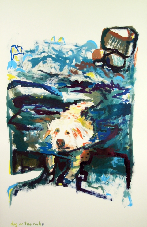 Works on paper  2000 to Present Dog on the rocks.