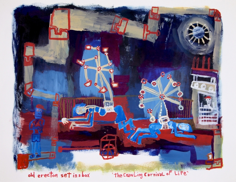 Works on paper  2000 to Present Old erector set in a box, 'the crawling carnival of life