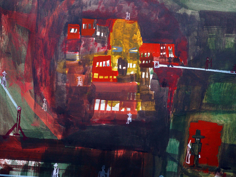 Works on paper  2000 to Present Gunner town detail.