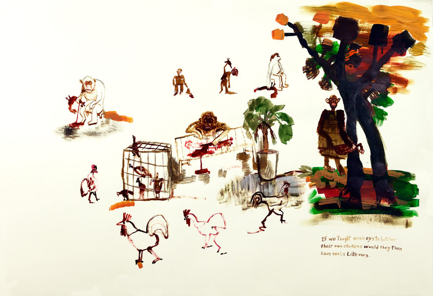 Works on paper  2000 to Present If we taught monkeys to butcher their own chickens would they then have souls like ours.