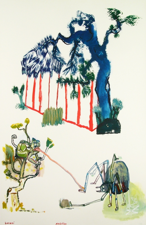 Works on paper  2000 to Present Bonsai, ambition.