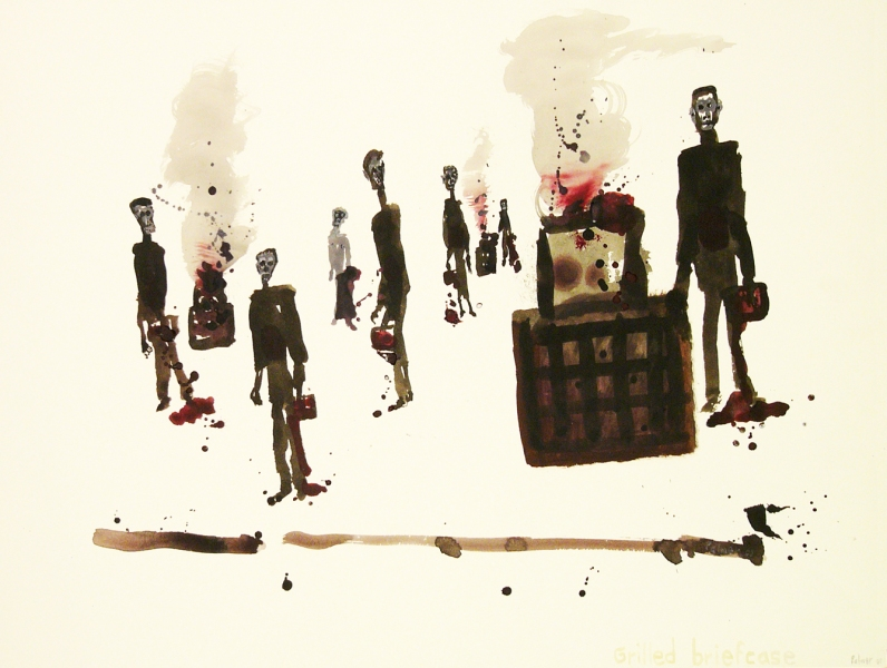 Works on paper  2000 to Present Grilled briefcase.