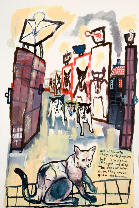 Works on paper  2000 to Present Out of the gate they were puppies but Tuco knew if he did not stop the dogs of war now, they would grow into hounds.