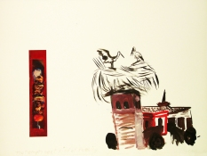 Roger Palmer 1990 to 1999 collage, ink, paint on rag