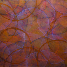 Roger Mudre Work on Paper acrylic over metal leaf on Arches 260lb HP