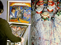 Rosemarie Fiore Pinball Paintings Evel Knievel Pinball machine, oil on vellum