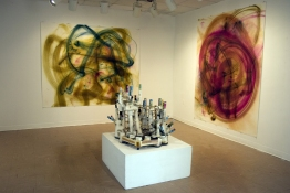 "Rosemarie Fiore Solo Exhibition ""Sky City"" smoke painitng machine, smoke paintings"