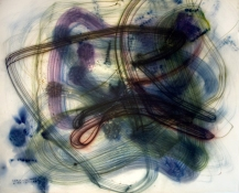 Rosemarie Fiore Studio Solo Exhibition lit firework color smoke resideue on paper