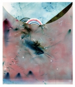 Rosemarie Fiore Studio Solo Exhibition lit color firework smoke reidue on paper