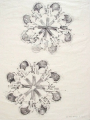 Rosemarie Fiore Studio Gun Rubbings graphite rubbing on Japanese silk tissue paper