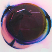Rosemarie Fiore Solo Exhibition lit color firework smoke on Fabriano paper