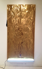 RYAN SARTIN Paintings Gold plated aluminum over black veil with fluorescent light and religious figure