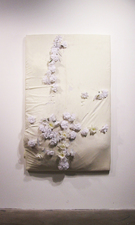 RYAN SARTIN Paintings Silk flowers and soil on bed sheet