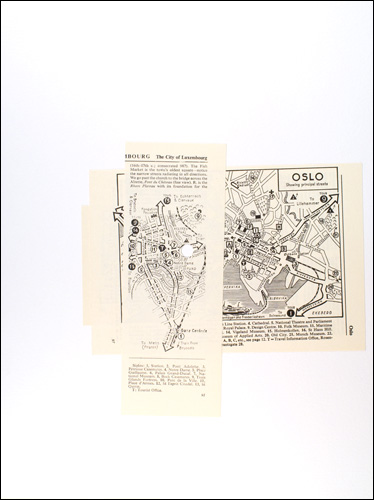 Roy Baugher Sights, places Cut-and-pasted printed paper on paper, 3 sheets, sheet 2 of 3