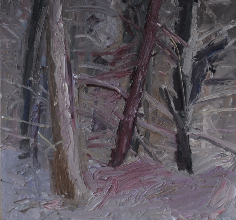 Roz Sommer Snow Paintings oil on board